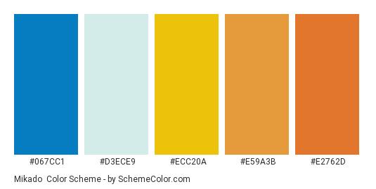 Mikado - Color scheme palette thumbnail - #067cc1 #d3ece9 #ecc20a #e59a3b #e2762d
