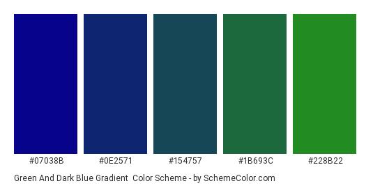Green and Dark Blue Gradient - Color scheme palette thumbnail - #07038B #0E2571 #154757 #1B693C #228B22