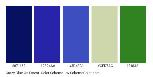 Crazy Blue on Forest - Color scheme palette thumbnail - #071162 #2824AA #3D4EC1 #CED7AC #318321