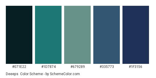 Deeeps - Color scheme palette thumbnail - #071e22 #1d7874 #679289 #335773 #1f3156