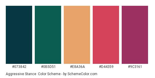 Aggressive Stance - Color scheme palette thumbnail - #073842 #0B5D51 #E8A36A #D44359 #9C3161