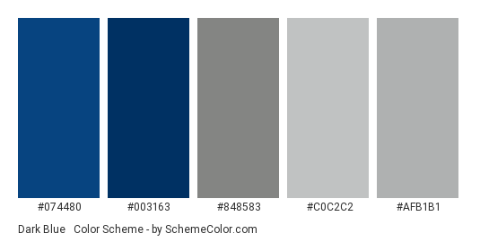 Dark Blue & Silver - Color scheme palette thumbnail - #074480 #003163 #848583 #c0c2c2 #afb1b1
