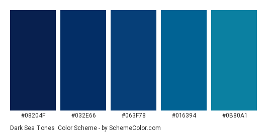 Dark Sea Tones - Color scheme palette thumbnail - #08204F #032E66 #063F78 #016394 #0B80A1