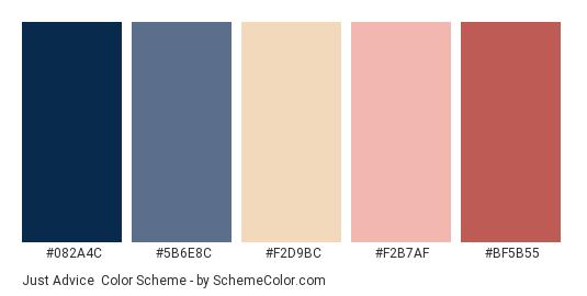 Just Advice - Color scheme palette thumbnail - #082A4C #5B6E8C #F2D9BC #F2B7AF #BF5B55