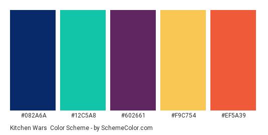 Kitchen Wars - Color scheme palette thumbnail - #082A6A #12C5A8 #602661 #F9C754 #EF5A39