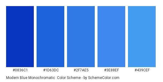 Modern Blue Monochromatic - Color scheme palette thumbnail - #0836c1 #1d63dc #2f7ae5 #3e88ef #439cef