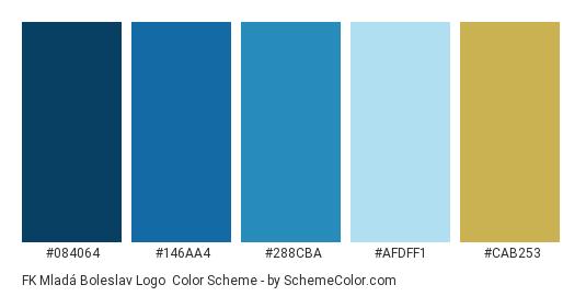 FK Mladá Boleslav Logo - Color scheme palette thumbnail - #084064 #146aa4 #288cba #afdff1 #cab253