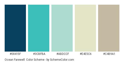Ocean Farewell - Color scheme palette thumbnail - #08415F #3CBFBA #ABDCCF #e4e5c6 #c4b9a1