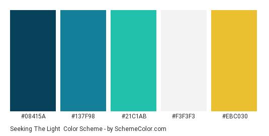 Seeking the Light - Color scheme palette thumbnail - #08415a #137f98 #21c1ab #f3f3f3 #ebc030