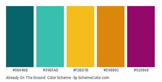 Already on the Ground - Color scheme palette thumbnail - #08646B #39BFAD #F2BD1B #D9880C #920868