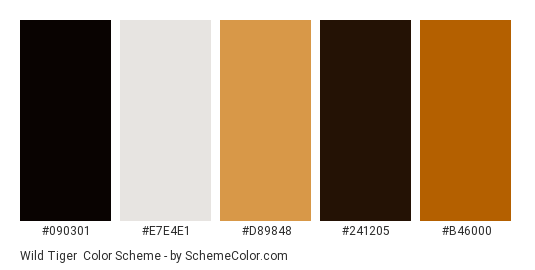 Wild Tiger - Color scheme palette thumbnail - #090301 #E7E4E1 #d89848 #241205 #b46000