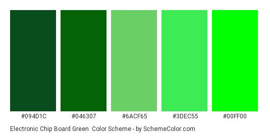 Electronic Chip Board Green - Color scheme palette thumbnail - #094D1C #046307 #6ACF65 #3DEC55 #00FF00