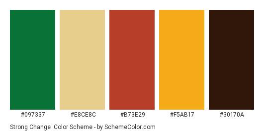 Strong Change - Color scheme palette thumbnail - #097337 #E8CE8C #B73E29 #F5AB17 #30170A