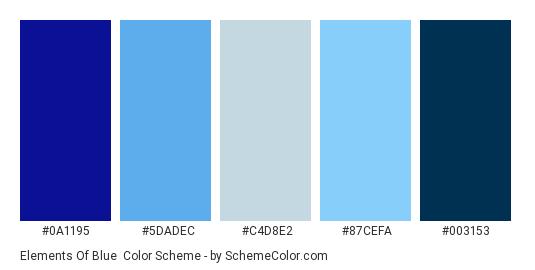 Elements of blue - Color scheme palette thumbnail - #0A1195 #5DADEC #C4D8E2 #87CEFA #003153
