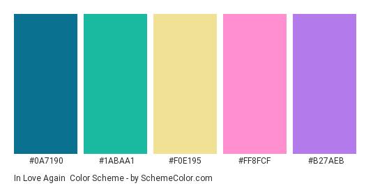 In Love Again - Color scheme palette thumbnail - #0A7190 #1ABAA1 #F0E195 #FF8FCF #B27AEB
