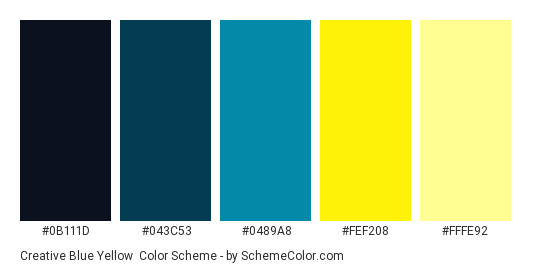 Creative Blue Yellow Color Scheme Palette Thumbnail 0b111d 043c53 0489a8