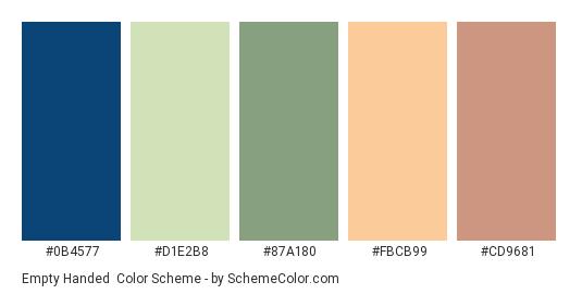 Empty Handed - Color scheme palette thumbnail - #0B4577 #D1E2B8 #87A180 #FBCB99 #CD9681