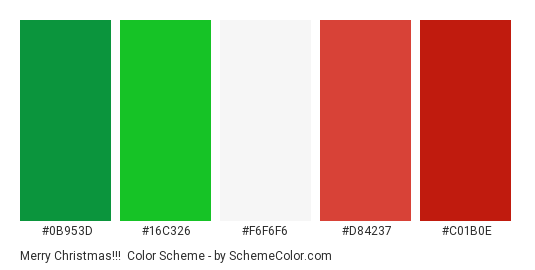 Merry Christmas!!! - Color scheme palette thumbnail - #0B953D #16C326 #F6F6F6 #D84237 #C01B0E