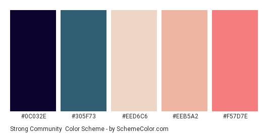Strong Community - Color scheme palette thumbnail - #0C032E #305F73 #EED6C6 #EEB5A2 #F57D7E