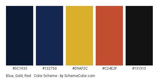 Blue, Gold, Red & Black - Color scheme palette thumbnail - #0C1933 #132750 #D9AF2C #C24E2F #131313