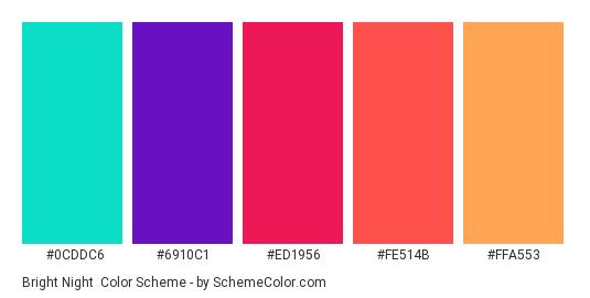 Bright Night - Color scheme palette thumbnail - #0CDDC6 #6910C1 #ED1956 #FE514B #FFA553