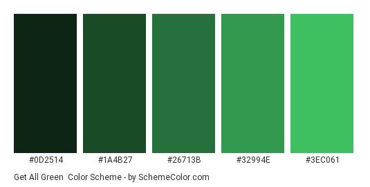 Get all Green - Color scheme palette thumbnail - #0D2514 #1A4B27 #26713B #32994E #3EC061