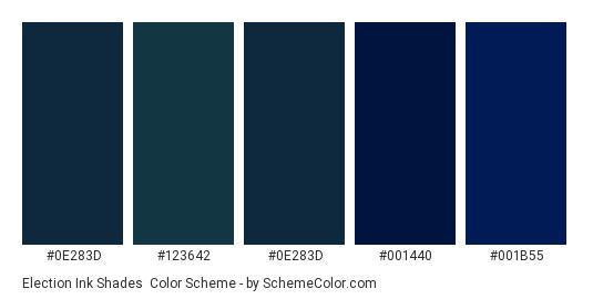 Election Ink Shades - Color scheme palette thumbnail - #0E283D #123642 #0E283D #001440 #001B55