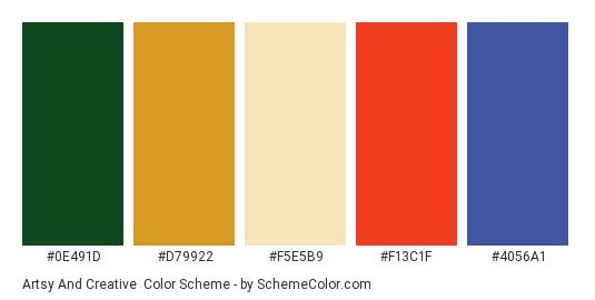 Artsy and Creative - Color scheme palette thumbnail - #0E491D #D79922 #F5E5B9 #F13C1F #4056A1