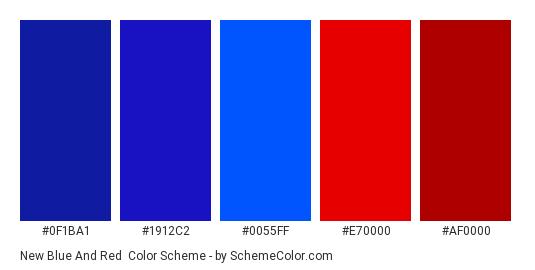 New Blue and Red - Color scheme palette thumbnail - #0F1BA1 #1912C2 #0055FF #E70000 #AF0000