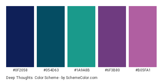 Deep Thoughts - Color scheme palette thumbnail - #0F2058 #054D63 #1A9A8B #6F3B80 #B05FA1