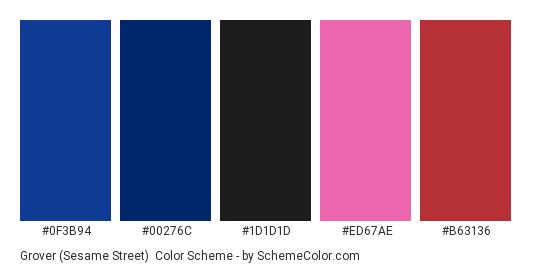 Grover (Sesame Street) - Color scheme palette thumbnail - #0F3B94 #00276C #1D1D1D #ED67AE #B63136