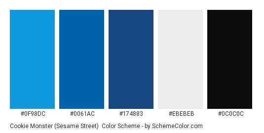 Cookie Monster (Sesame Street) - Color scheme palette thumbnail - #0F98DC #0061AC #174883 #EBEBEB #0C0C0C