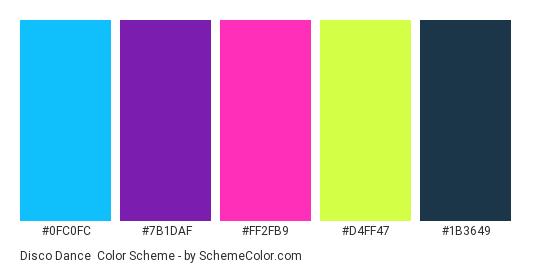 Disco dance - Color scheme palette thumbnail - #0FC0FC #7B1DAF #FF2FB9 #D4FF47 #1B3649
