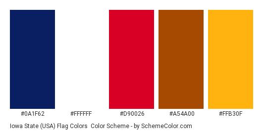Iowa State (USA) Flag Colors - Color scheme palette thumbnail - #0a1f62 #ffffff #d90026 #a54a00 #ffb30f