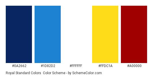 Royal Standard Colors - Color scheme palette thumbnail - #0a2662 #1d82d2 #ffffff #ffdc1a #a00000