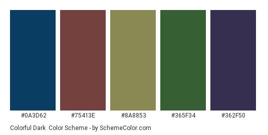 Colorful Dark - Color scheme palette thumbnail - #0a3d62 #75413e #8a8853 #365f34 #362f50