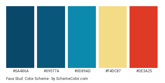 Faux Stud - Color scheme palette thumbnail - #0a486a #09577a #0d89ad #f4dc87 #de3a25