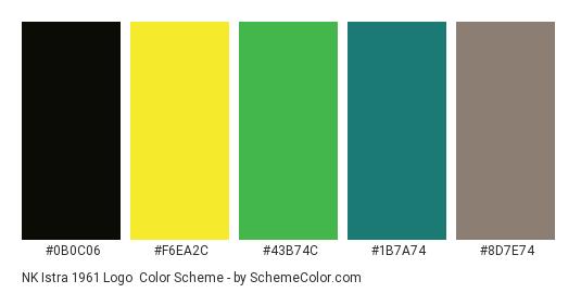 NK Istra 1961 Logo - Color scheme palette thumbnail - #0b0c06 #f6ea2c #43b74c #1b7a74 #8d7e74