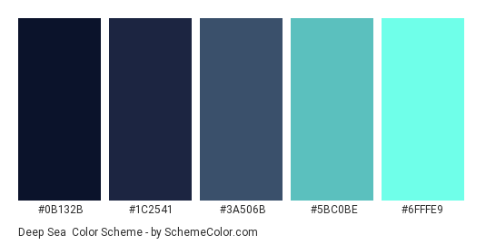 Deep Sea - Color scheme palette thumbnail - #0b132b #1c2541 #3a506b #5bc0be #6fffe9