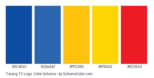 Tarang TV Logo - Color scheme palette thumbnail - #0c4da1 #2a66af #ffc30d #ffd602 #ed1b24