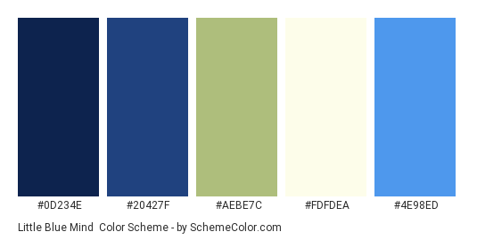 Little Blue Mind - Color scheme palette thumbnail - #0d234e #20427f #aebe7c #fdfdea #4e98ed