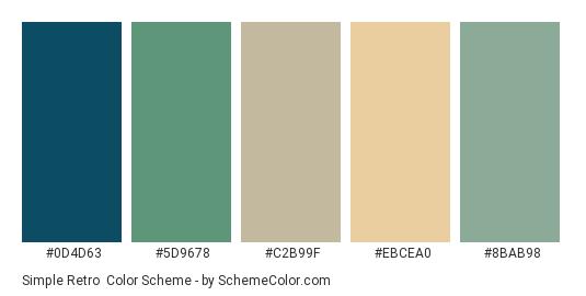 Simple Retro - Color scheme palette thumbnail - #0d4d63 #5d9678 #c2b99f #ebcea0 #8bab98