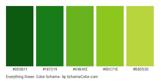 Everything Green - Color scheme palette thumbnail - #0d5b11 #187c19 #69b41e #8dc71e #b8d53d