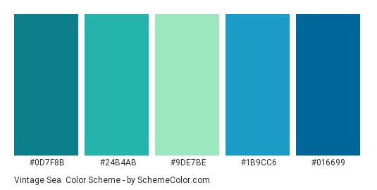 Vintage Sea - Color scheme palette thumbnail - #0d7f8b #24b4ab #9DE7BE #1b9cc6 #016699