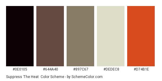 Suppress The Heat - Color scheme palette thumbnail - #0e0105 #644a40 #897c67 #dedec8 #d74b1e