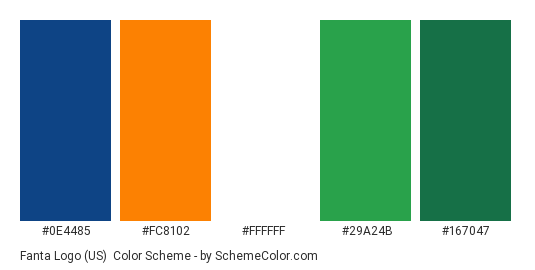 Fanta Logo (US) - Color scheme palette thumbnail - #0e4485 #fc8102 #ffffff #29a24b #167047
