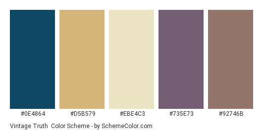 Vintage Truth - Color scheme palette thumbnail - #0e4864 #d5b579 #ebe4c3 #735e73 #92746b