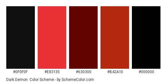 Dark Demon - Color scheme palette thumbnail - #0f0f0f #e83135 #630300 #b42a10 #000000