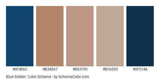 Blue Soldier - Color scheme palette thumbnail - #0f456c #b38567 #bb9781 #bfa593 #0f314a