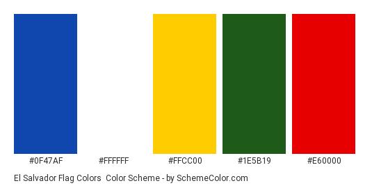 El Salvador Flag Colors - Color scheme palette thumbnail - #0f47af #ffffff #ffcc00 #1e5b19 #e60000